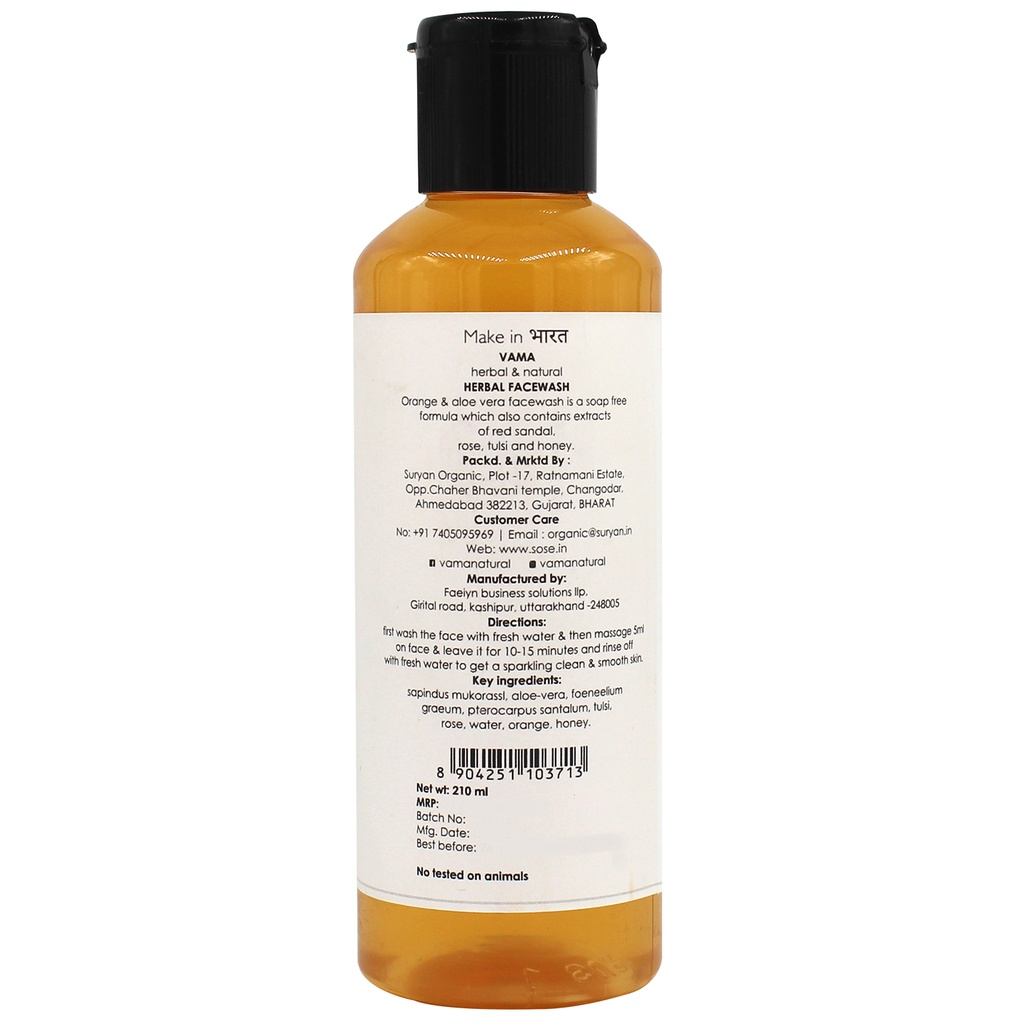 VAMA Herbal Facewash Orange+Alovera 210Ml